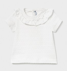 Mayoral Off White Ruffled Collar Baby T-Shirt