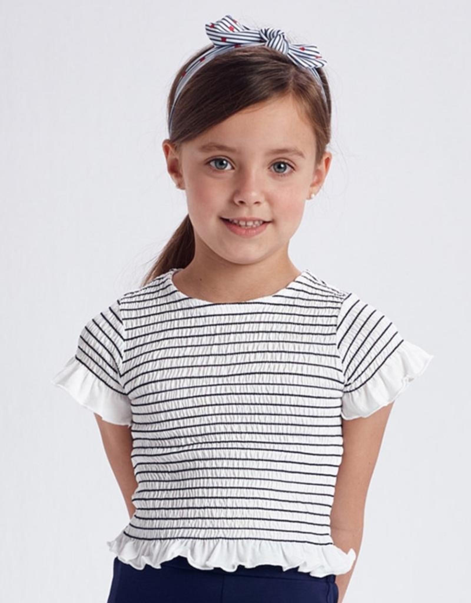 Mayoral Striped Short Sleeved Smocked Stitching T-Shirt