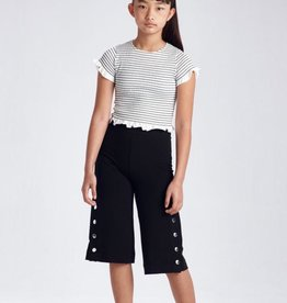 Mayoral Black Knit Pants and Striped Shirt Set