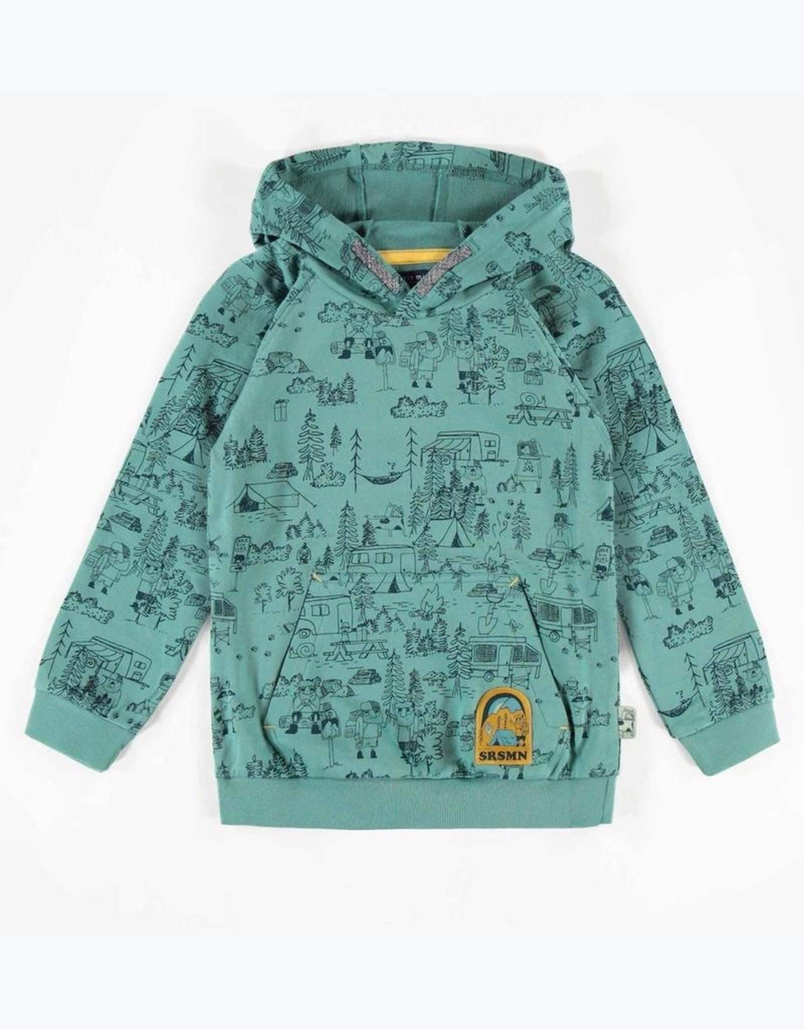 Souris Mini Green Outdoor Print Hooded Sweatshirt