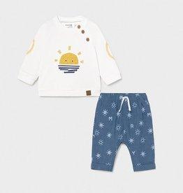 Mayoral Blue Denim Baby Shirt and Pant Set