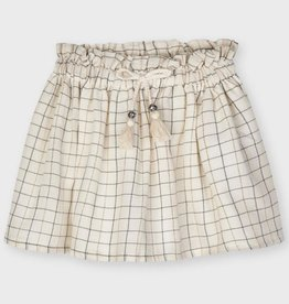 Mayoral Sand Plaid Lurex Skirt