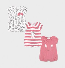 Mayoral Bubble Gum Set of 3 Bunny Print Knit Onesies