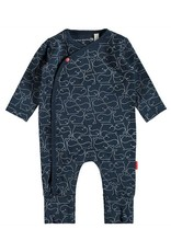 Bampidano Whale Print Romper with Fold-over Feet
