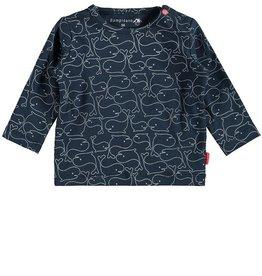 Bampidano Bampidano, Whale Print Long Sleeve Danique Top, Indigo, 74 (6-9mo)