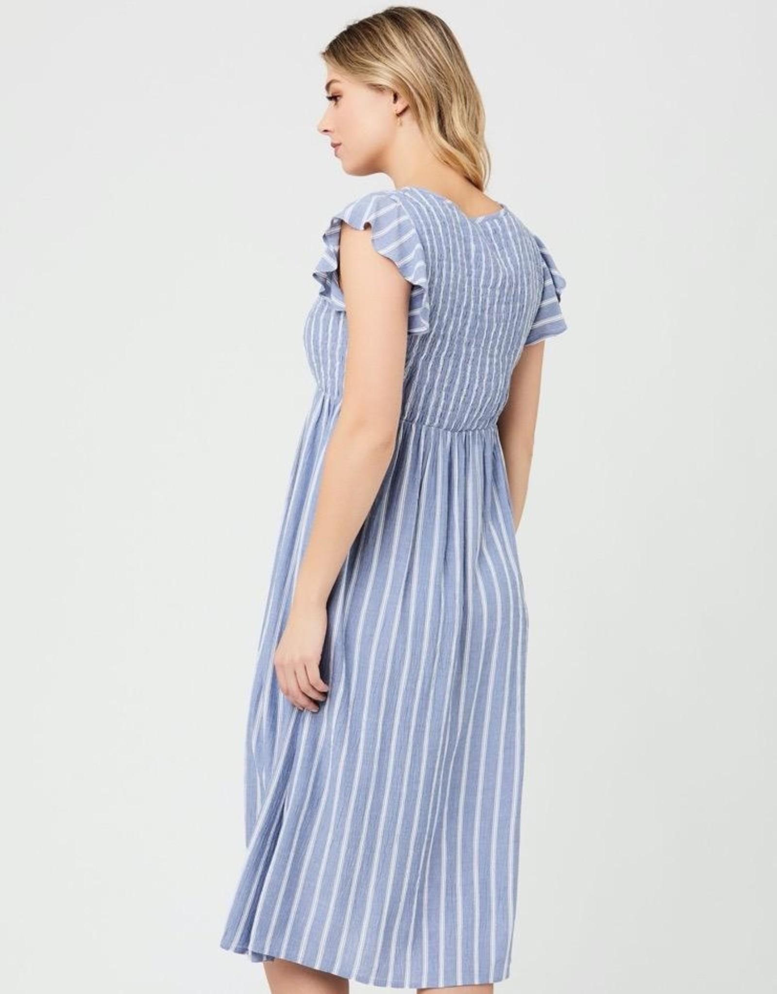 Ripe Maternity Sofia Shirred Dress in Blue & White