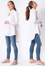 Seraphine Henrika, High-Low Hem White Cotton Maternity Shirt