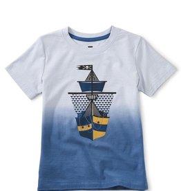 Tea Collection Dip Dye Ship Shape Graphic Tee, Vista Blue, 7yrs