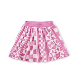 Tea Collection Geometric Paterned Geometric Paterned Twirl Skort, Pink / White, 7yrs