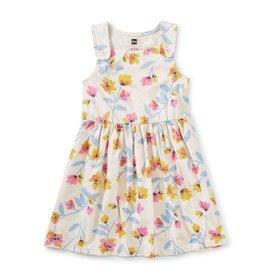 Tea Collection Pastel Floral Print Button Shoulder Dress, Chalk, 8yrs