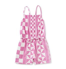 Tea Collection Geometric Paterned Smocked Romper