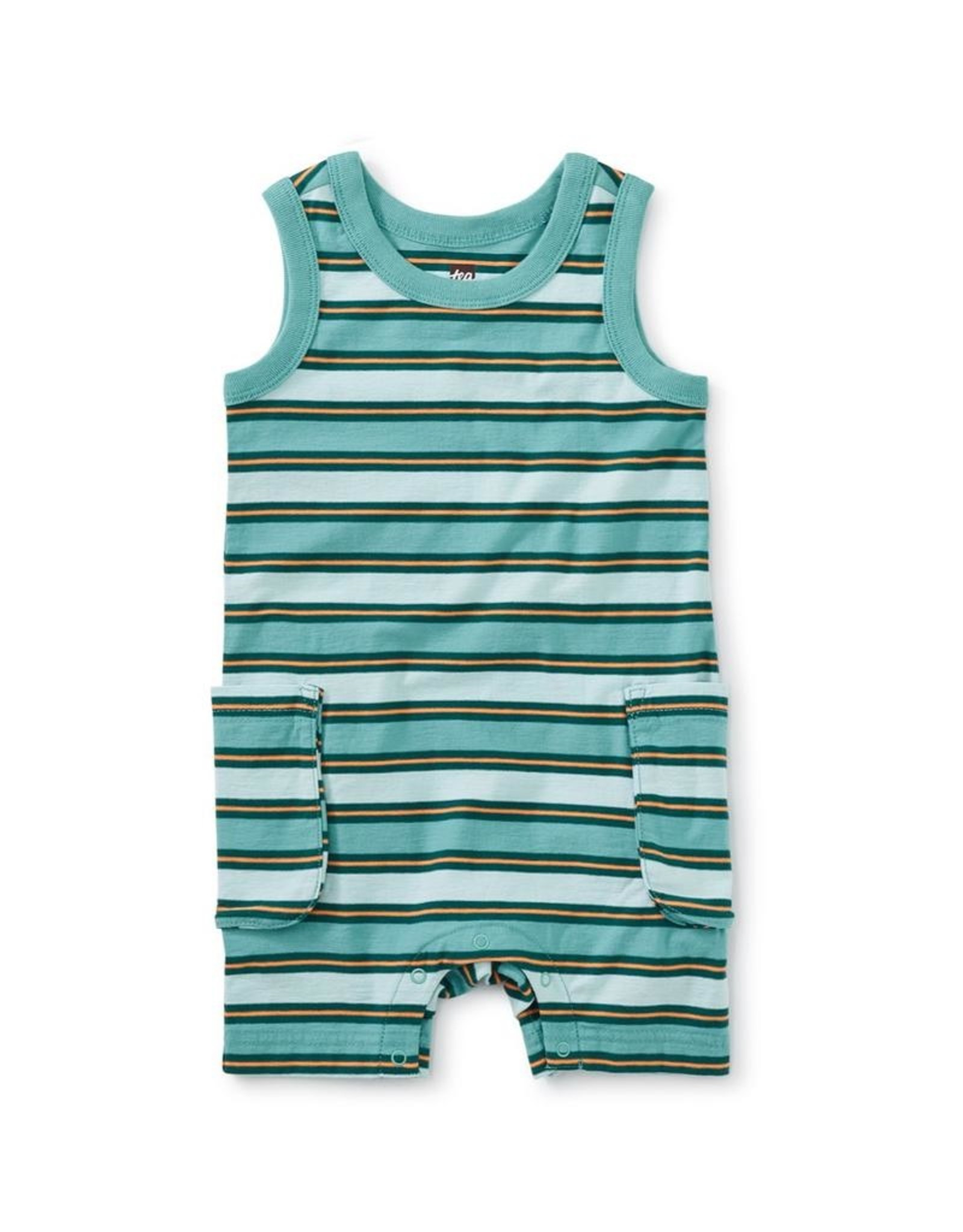 Tea Collection Striped Cargo Pocket Tank Baby Romper