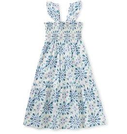 Tea Collection Smocked Midi Dress, Blue Print, 8yrs