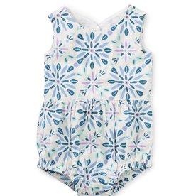 Tea Collection Island Tile Printed Peekaboo Back Baby Romper