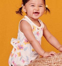 Tea Collection Costa Nova Floral Print Ruffle Waist Baby Romper