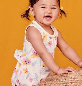 Tea Collection Pastel Floral Print Ruffle Waist Baby Romper, Chalk, (6-9mo)