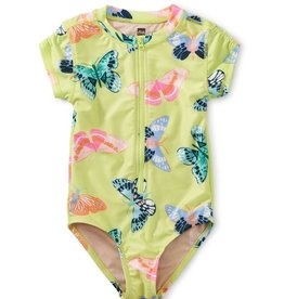 Tea Collection Tea Collection, Butterfly Rash Guard One-Piece Swimsuit, Gossamer Glow, 6yrs