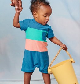 Tea Collection Tea Collection, Pop Pocket Shortie Baby Romper, Indian Teal, (3-6mo)