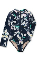 Tea Collection Tropical Lillies Long Sleeve One-Piece Swimsuit