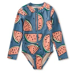 Tea Collection Tea Collection, Watermelon Long Sleeve One-Piece Swimsuit, Watermelons, 7yrs