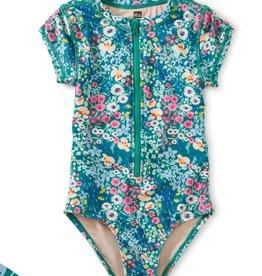 Tea Collection Garden Flowers Print Rash Guard One-Piece Swimsuit