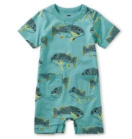 Tea Collection Tea Collection, Coastal Fish Pocket Shortie Baby Romper, Coastal Fish, (3-6mo)