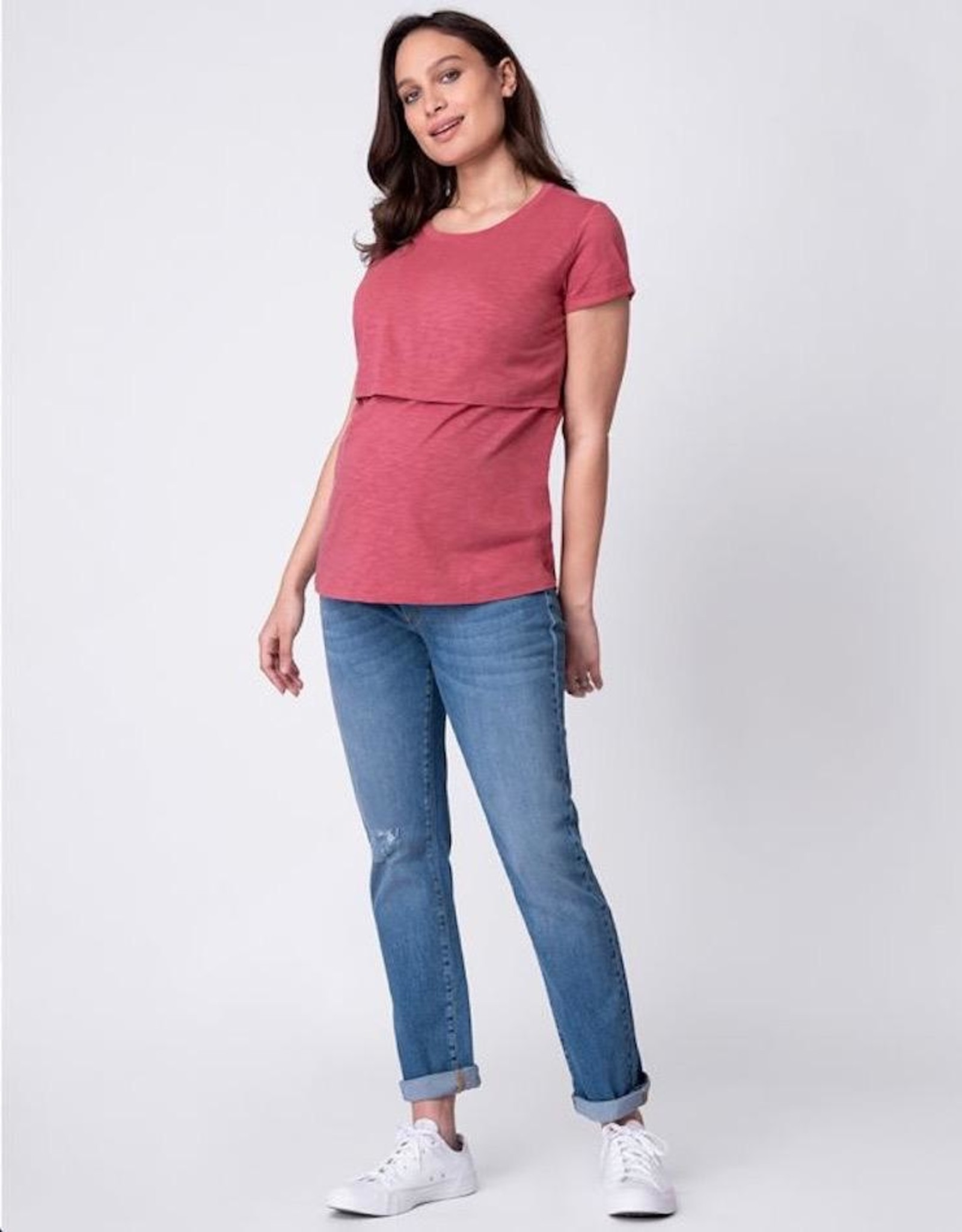 Seraphine Lulu Cotton Maternity & Nursing T-Shirt - Rose