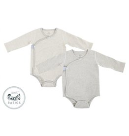 Nest Designs Basics Organic Cotton Ribbed Kimono Long Sleeve Onesie (2 Pack) - Dark Grey