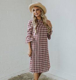 Roolee Joy Plaid MOM Dress in Raspberry