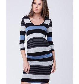 Ripe Maternity Long Sleeve Striped Nursing Tube Dress