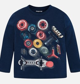 Mayoral Long Sleeved Skateboard Parts Print T-shirt for Boy