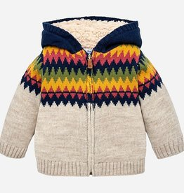 Mayoral Knitted Jacquard Hooded Cardigan for Baby Boy