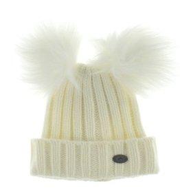 Calikids Calikids Faux Fur Two Pom Knit Hat