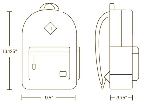 Herschel Kids Backpack Dimensions