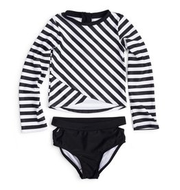 Appaman Appaman L/S Rashguard Set Black/White Stripe