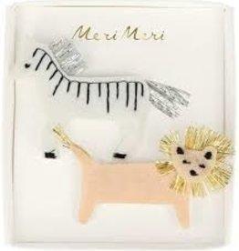 meri meri Meri Meri Zebra & Lion Felt Hair Clips