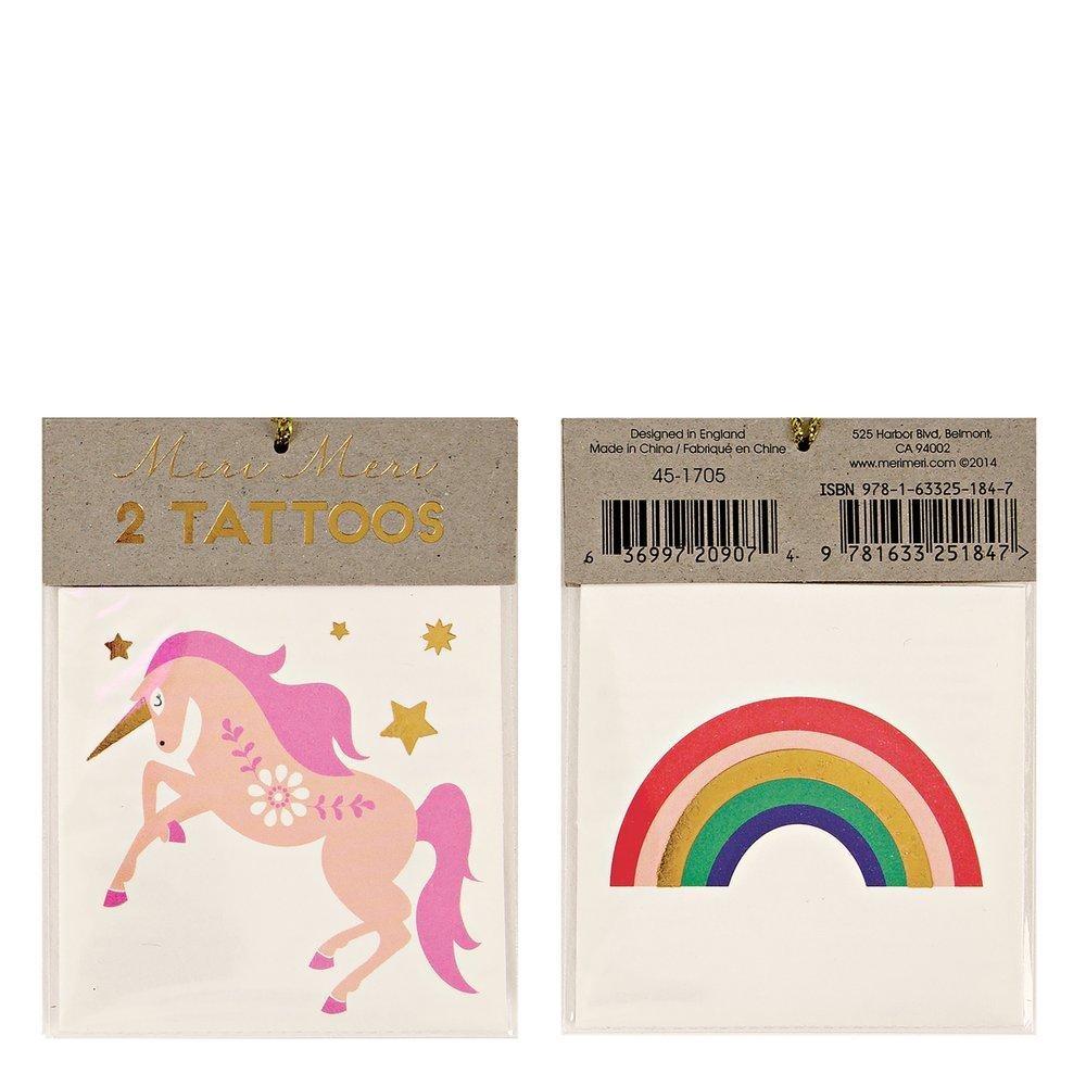 meri meri Meri Meri Unicorn & Rainbow Tattoos