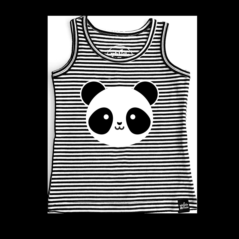 Whistle & Flute Kawaii Panda Striped Tank