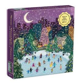 Galison Merry Moonlight Skaters Foil Puzzle 500pc