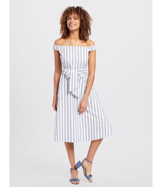 Draper James Draper James Off the Shoulder Stripe Dress