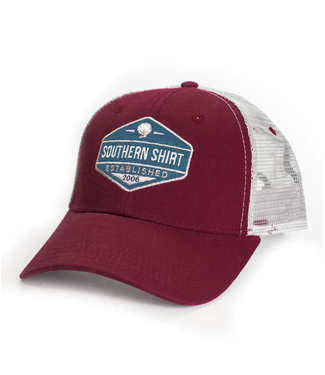 Southern Shirt Co. Southern Shirt Co. Trademark Badge Mesh Hat Maroon/Steel