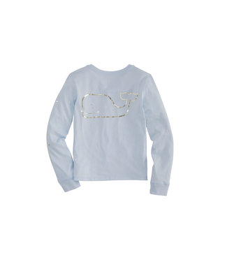 Vineyard Vines Vineyard Vines Youth Girls Foil Whale L/S Pocket Tee