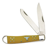 American Buffalo Knife and Tool Cattleman Yellow Trapper Knife