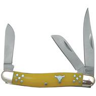 American Buffalo Knife and Tool Cattleman Yellow Stockman Knife