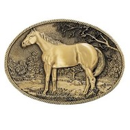 Montana Silversmiths Montana Silversmith Standing Horse Profile Heritage Attitude Belt Buckle