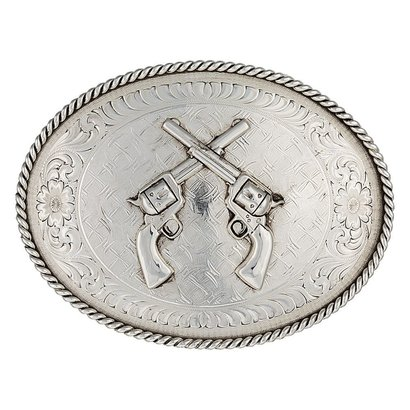 Montana Silversmith Don't Fence Me In Western Belt Buckle with Crossed PistolsMontana Oval Crossed Pistols
