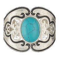 Montana Silversmiths Montana Silversmith Silver Pinpoints and Western Lace Cuff Bracelet with Turquoise