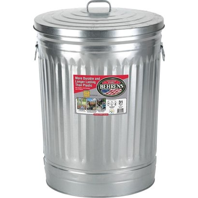 Behrens Mfg. LLC Behrens Galvanized Steel Round Trash Can with Lid