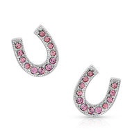 Montana Silversmiths Montana Silversmiths Pink Ice Stuck on Luck Earrings