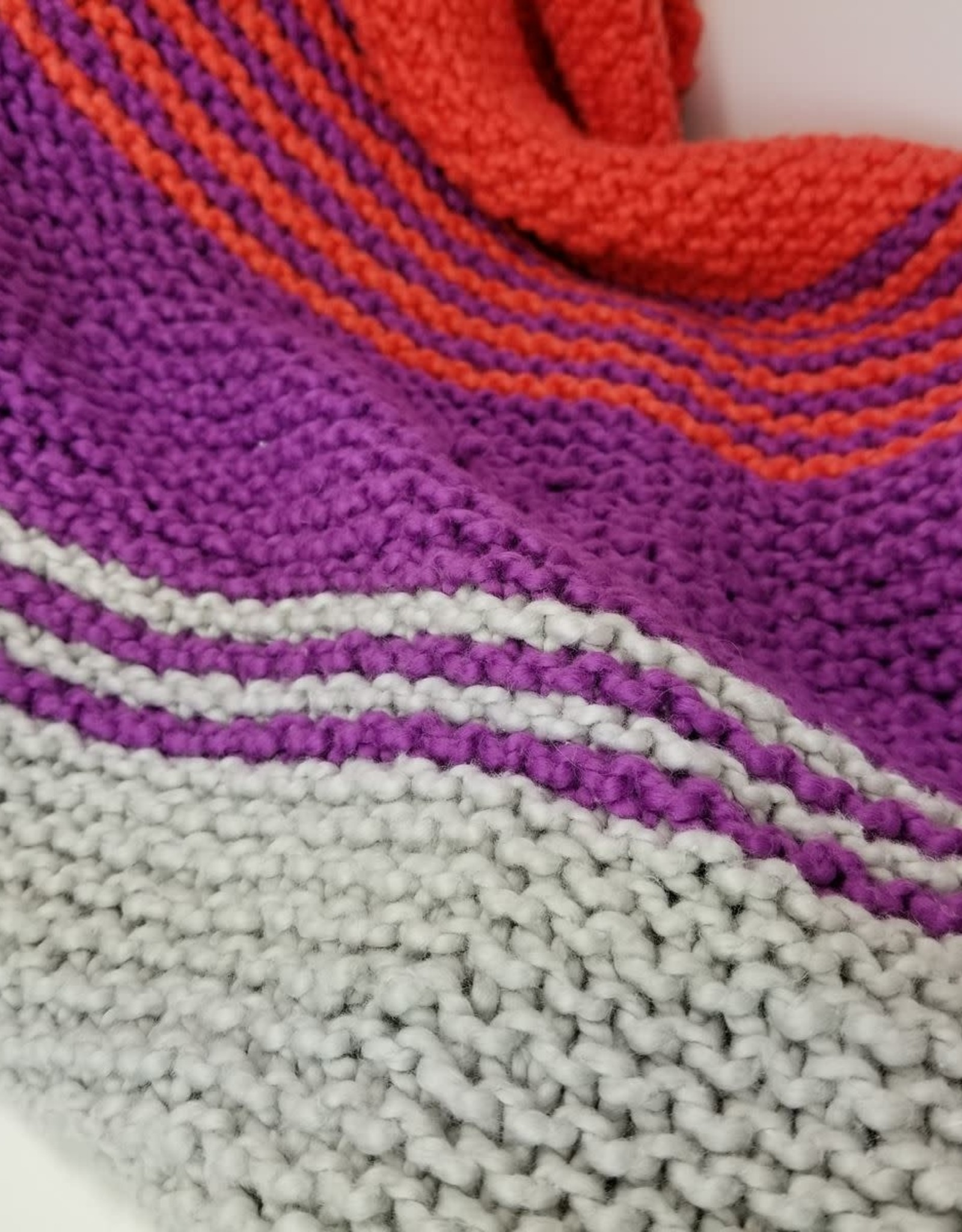 Plymouth Yarns KIT Cotton Bulky Baby Blanket blue/coral/grey 400g